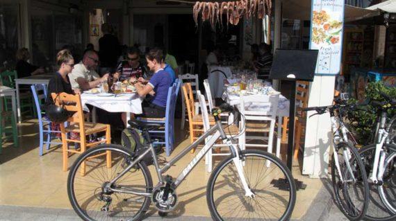 Enjoying the food at a local fish tavern
