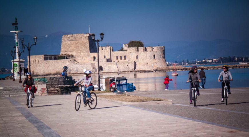 Cycling at the port of Nafplio