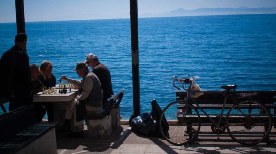 Playing chess at the sea side